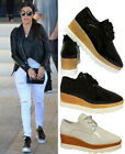 NEW LADIES GIRLS CELEBRITY PATENT SHINY WEDGE LACE UP SHOES CREEPERS UK 2.5 - 6