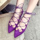 Ladies Chic Girl Velvet Pointy Toe Flat Lace up Roma Sandal Cut out Summer Shoes