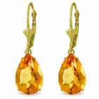 10 ctw Natural Citrine Gemstone Leverback Earrings 14K. White, Yellow, Rose Gold
