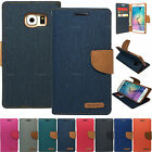 Canvas Diary Wallet Stand Case For Samsung Galaxy Note Series Various Phones