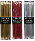 Village Candle  UNFRAGRANCED METALLIC DINNER CANDLES PACK OF 4 - Gold Red Silver