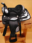 """10"""" OR 13"""" Black & Silver Synthetic Youth Western Saddle w Headstall & BC"""