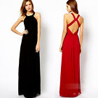 BLACK/RED Fashion Women Summer Holiday Boho Long Maxi Evening Party Beach Dress