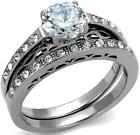 7mm Round Engagement Ring WEDDING SET White Size 5 6 7 J L N Steel LTK2477E
