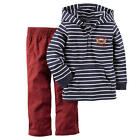 Carter's Boys 2 Piece Navy/White Stripe French Terry Henley Hoodie - Toddler