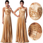 2015 Luxury GOLD Formal Wedding Cocktail Evening Party Prom Ball Gown Long Dress
