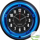 """Neon Wall Clock, Sterling & Noble Modern Home, Choice Blue or Pink 11""""- NEW"""