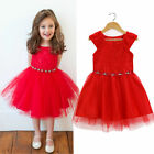 Girls Pageant Red Dress, Flower Girl Wedding & Formal Party Dressy 2 3 4 5 6 7T