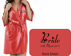 NEW Personalised CORAL Bridal Satin Robe / Gown Wedding Bride Mother or Gift Bag