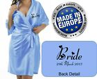 NEW Personalised BABY BLUE Bridal Satin Robe / Gown Wedding Bride Mum / Gift Bag
