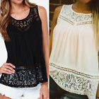 Boho Hippie Backless Lace Splice Pleated Vest Tank Tops Blouse T-Shirt Sexy New