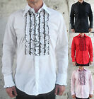 Mens Retro Ruffle Frill Tuxedo Wedding Tailored Dress Shirt Dinner Disco 70s New