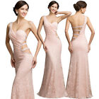 Mermaid Pink LACE Evening Formal Prom Gown Party Bridesmaid Ball Long Maxi Dress