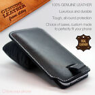 Luxury Genuine Leather Pull Tab Slide In Top Flip Up Phone Case Pouch Sleeve