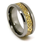 10mm Tungsten Carbide 18K Gold Plated Celtic Dragon Inlay Wedding Band