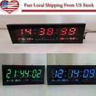 New Digital Large Big Digits LED Wall Desk Clock With Calendar Temperature -US