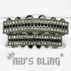 Iced Out Gunmetal GRILLZ Black Stripe CZ Bling Mouth Teeth Caps Hip Hop Grills