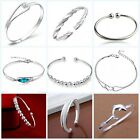 Fashion 925 Sterling Silver Plated Cuff Bracelet Bangle Hand Chain Jewelry Gift