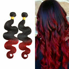 Ombre Red Brazilian Human Hair Wefts 50g 1/2/3Bundles Wavy Extensions Remy Hair