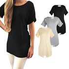 Fashion Ladies Lace Short Sleeve Long Tops Blouse Shirt  Mini Dress UK 8-22