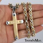 Mens Chain Cross Byzantine Stainless Steel PENDANT NECKLACE 18-36'' 3 COLORS NEW