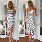 New Sexy Womens Ladies Summer Celebrity Style Monochrome Striped Long Maxi Dress