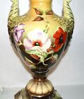 Vintage ROMANTIC Sanctuary Table Lamp Porcelain Hand painted Green Floral Urn