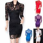 Elegant Lace Floral 3/4 Sleeves Prom Evening Party Dress