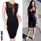 Celebrity Deep V Cleavage Sheer Sleeveless Prom Evening Party Dress
