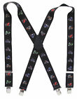 """Heavy Duty 2"""" Suspenders Motorcycles on Black Classic Road Bikes Choose Size"""