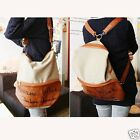 Stylish Women Novelty Canvas PU Leather Hobo Backpack Satchel Shoulder Bag HFCA