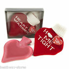 HEART SHAPED HOT WATER BOTTLE WITH COVER GIFT NEW 1000ML KNITTED VALENTINES XMAS