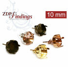 Choose Your Finish ,10pcs x Square 10mm Post Bezel Earrings.fit Swarovski 4470