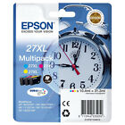 GENUINE EPSON 27XL ALARM CLOCK SERIES 3 COLOUR INK CARTRIDGE PACK (C13T27154010)