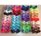 Girls 4 inch hair bows pony tails hair band bobbles ponio grossgrain ribbon 4""