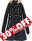 WOMENS QUILTED WINTER COAT FAUX FUR COLLAR HOODED PADDED JACKET PARKA ON SALE