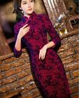 CF burgundy fashion Chinese velvet Women's evening Dress Cheongsam 6.8.10.12.14