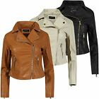 Ladies Soft Faux Leather Biker Zip Jacket Womens Quilted Crop Coat Sizes S-XL