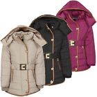 Girls Quilted Jacket Kids Padded Detach Hood Winter Coat Fur Lining Zip 3-14 Y