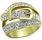 NEW Size P R T 8 9 10 Crystal Buckle Ring Yellow Stainless Steel LTK1906E