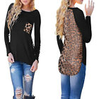Sexy Ladies Chiffon Leopard Loose Long Sleeve Blouse Tee Shirt Casual Tops