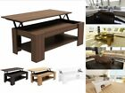 Caspian Modern Lift Up Top Coffee Table with Storage - Espresso Oak Walnut White