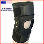 Hinged Knee Brace Adjustable Black Wraparound Open Patella Support Neoprene Wrap