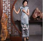 gray new fashion Chinese silk Women's evening long Dress Cheongsam 6.8.10.12.14