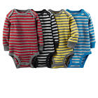 Carter's Boys 4 Pack Red/Black/Yellow/Blue Striped Long Sleeve Lap Shoulder Body