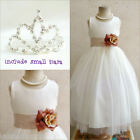 Adorable Ivory/champagne/beige flower girl dress FREE SMALL TIARA all sizes