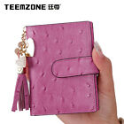 teemzone Women Genuine Leather Ostrich Grain PVC ID Credit Card Holder 19 Slots