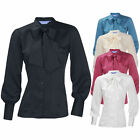 Ladies Womens Plus Size New Blouse Shirt Long Sleeve Pussy Bow Satin Work Office