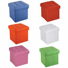 Pink Orange Blue Red White Green Removable Top PU Leather Square Storage Ottoman