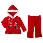Disney Baby Girls 2 Piece Red Velour Zip Up Hoodie with Faux Fur Trim, Minnie Mo